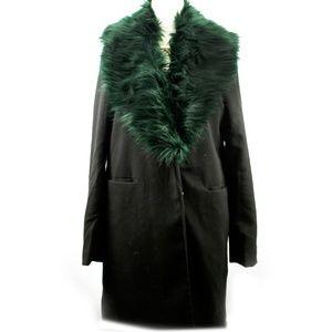 Vintage Inspired Blazer Coat  removable fur collar